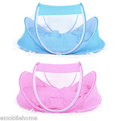 Portable Foldable Baby Infant Bed Mattress Play Mat With Mosquito Net/Pillow