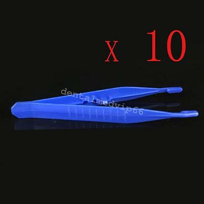 10pcs Disposable Medical Tweezers Small Plastic Blue Tweezers For first aid kits