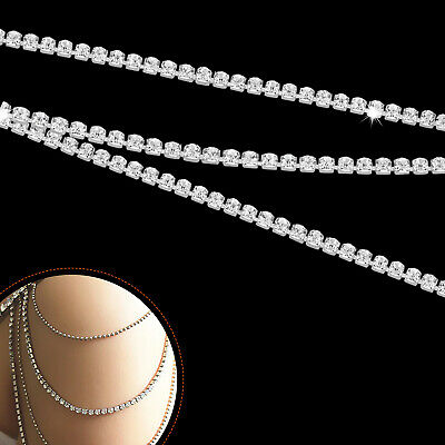 1M Diamante Chain Trim Rhinestone Crystal Silver Cake Toppers Decorations - SS8