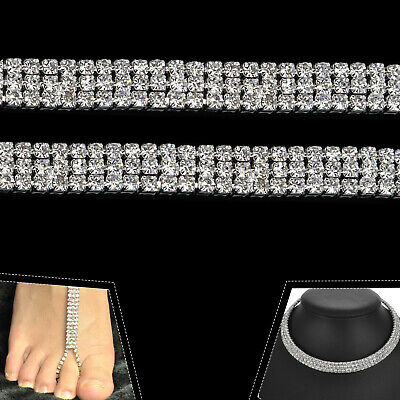 1M Diamante Chain Trim Rhinestone Crystal Silver Cake Toppers Decorations - SS16