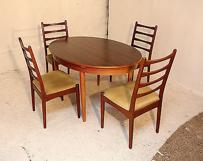 Extending Dining Table & 4 Chairs, Retro Rosewood Laminate, Solid Wood, Kitchen