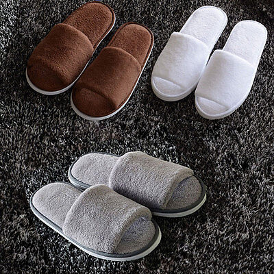 Womens & Mens Open Toe Winter Slippers Warm Slippers Fleece House Indoor Shoes
