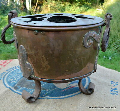 "Antique RARE French huge fireside bain marie dovetailed 13"" wide"