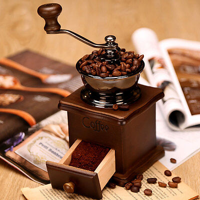 Vintage Manual Coffee Bean Spice Herbs Nuts Hand Grinder Wooden Burr Mill Gift