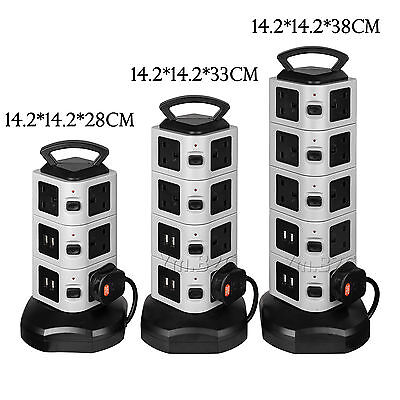 3/4/5 Layers USB Port Tower Power Strip Surge Protector Socket Extension Lead-2m