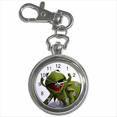 NEW* HOT KERMIT THE FROG THE MUPPETS Silver Tone Key Chain Ring Watch Gift