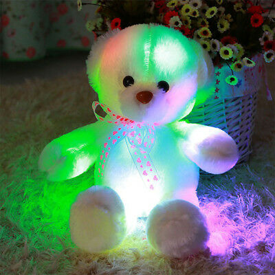LED Light up Glow Bear Stuffed Toys Gifts Pillow Soft Cosy Relax Kids Xmas Gift