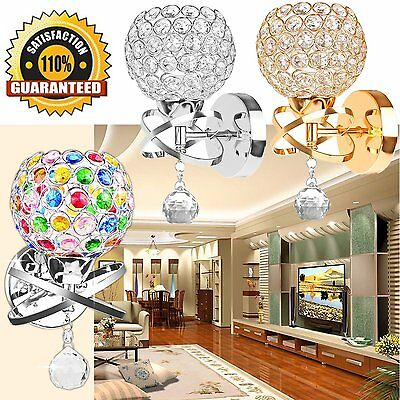Modern Silver Gold Crystal LED Wall Light Lamp Sconce Fitting Bedroom Hallway UK