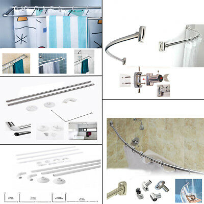S/s Aluminium Extensible Straight Curved Oval Bath Tub Shower Curtain Rod Rail