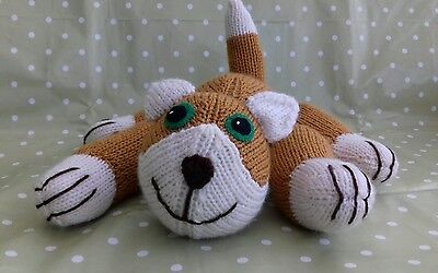 New Hand Knitted Cuddly Ginger Cat / Kitten Soft Toy