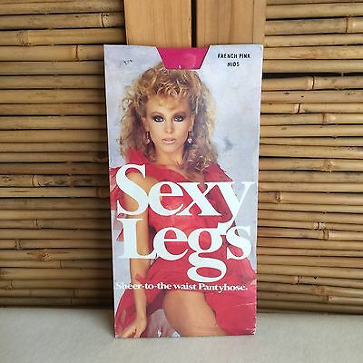 RETRO Vintage 80s 'SEXY LEGS' Sheer TO Waist FRENCH Pink PANTYHOSE ~ Sexy MODEL!