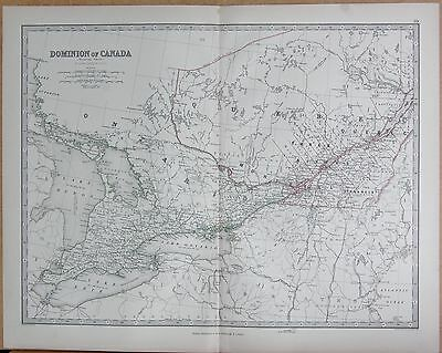 1874  Large Antique Map - Johnston- Dominion Of Canada