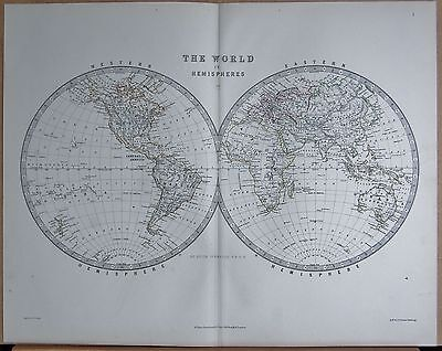 1874  Large Antique Map - Johnston- The World In Hemispheres