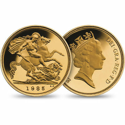 1985 Royal Mint St George Solid 22K Gold Proof Half Sovereign Coin No Box
