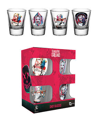 Harley Quinn Suicide Squad Officially Licenced 4 Shot Glass Set BRAND NEW BOXED