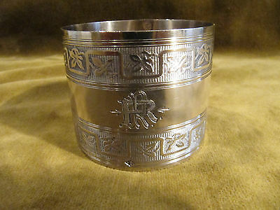 1900 french sterling silver napkin ring business art nouveau chestnut leaves