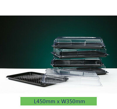 5x LARGE Buffet Catering Partyfood/Sandwich Plastic Platter With Lids