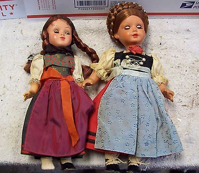 2 German Dolls MMM and GURA ~ Original Ethnic Outfit (Need some TLC)