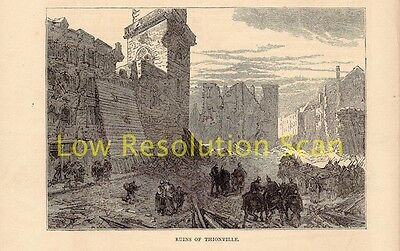 Ruins Of Thionville, Franco Prussian War Antique Engraving Print C1874