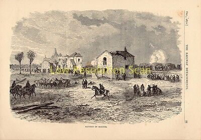 Battery Of Marines, Franco Prussian War Antique Engraving Print C1874