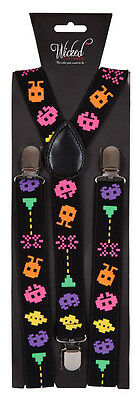 80's Space Braces Suspenders Clip On Adult Fancy Dress Costume Accessory 9378