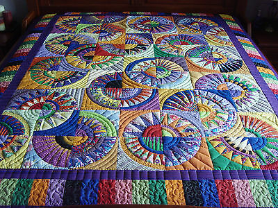 "Beautiful Handmade Large Size 'New York Beauty' Patchwork Quilt - 88"" x 78"""