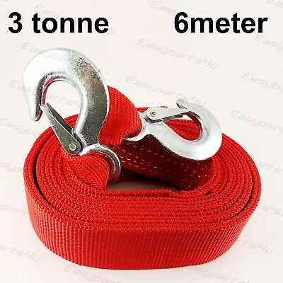 3 Tonne 6 Meter Tow Towing Pull Rope Strap Heavy Duty Road Recovery Car Van SUV