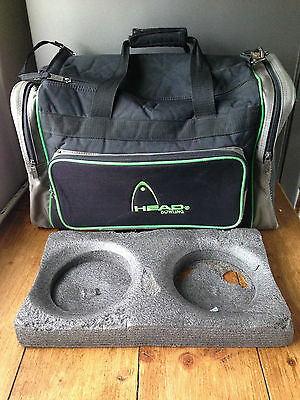 Vintage Retro Head Black & Lime Green 2 Ball Ten Pin Bowling Bag Holdall Twin