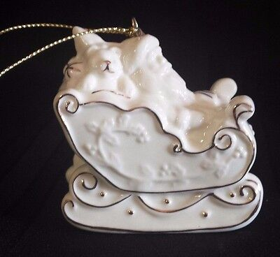2007 Lenox Type White Porcelain With Gold Trim Christmas Ornament