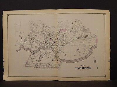 Massachusetts Middlesex County Map 1875 Watertown, Double Page !Z3#82
