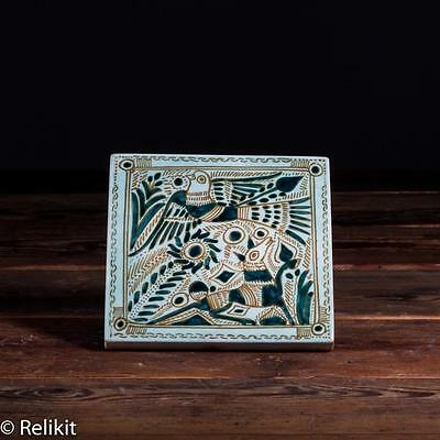 Modern Abstract Felix Tissot Taxco Mexico Tile Dog & Bird Hand Signed Scarce