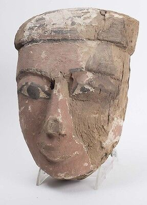 Ancient Egyptian Mummy Wood Mask late Period c.620 BC. • CAD $1,621.16
