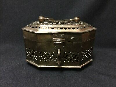 Vintage! Indian Handcrafted Brass Jali Cut Betel Nuts Box