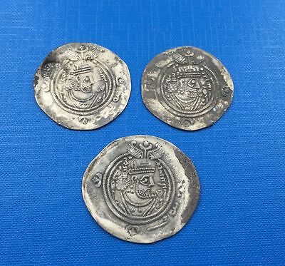 Sassanian King lot of 3 coins silver