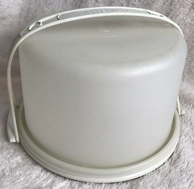 Vintage TUPPERWARE Sheer Round Cake Carrier #684-2 with Handle & White Base
