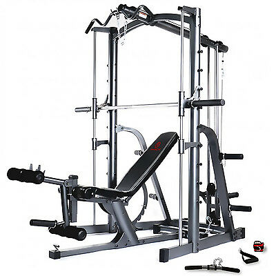 Marcy MWB1282 Smith Machine Press Home Multi Gym with Adjustable Weight Bench