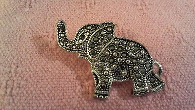 "Cute Vintage 2"" Long Silver Tone Elephant Pin  ; Free Shipping"