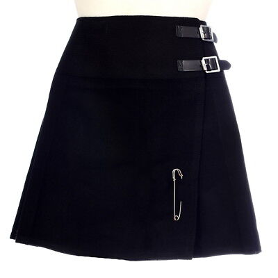 New Ladies Plain Black Tartan Scottish Mini Billie Kilt Mod Skirt Sizes 6-22UK