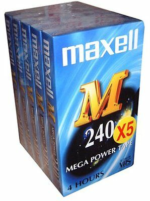 VHS Video Tape Maxell 4 hour E240M Mega Power Pack of 5