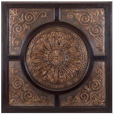 Modern Elegant Dark Brown Medallion Wood Metal  Wall Art Panel Plaque Home Decor