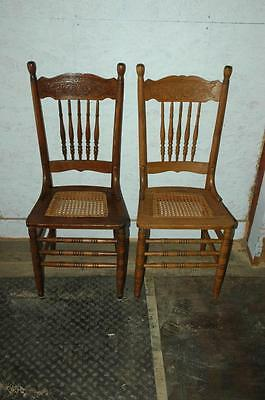 2 Antique Oak Pressed Back Cane Seat Dining Room Side Chairs
