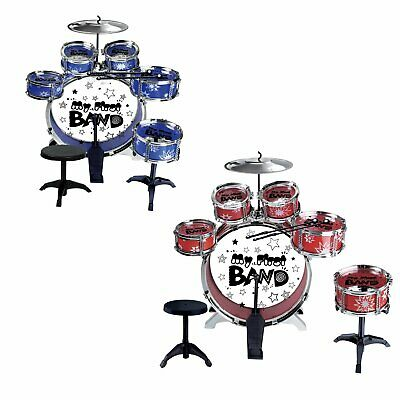 FoxHunter Children's Drum Set Kit – Musical Instrument Toy for Kids – Red / Blue
