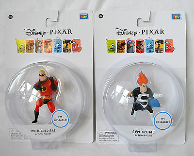 "Disney Pixar Collectible 3"" Figure 2pk- Mr. Incredible & Syndrome Thinkway 2015"