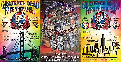 Grateful Dead Fare Thee Well Concert Poster Collection Set of 3 Signed/Numbered