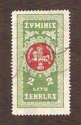 Lithuania 1937 Documentary Revenue 2L with numeral I