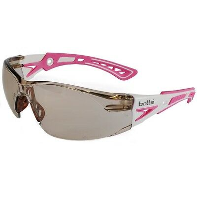 Bolle Rush Plus Small Safety Glasses White/Pink Temples CSP Anti-Fog Lens