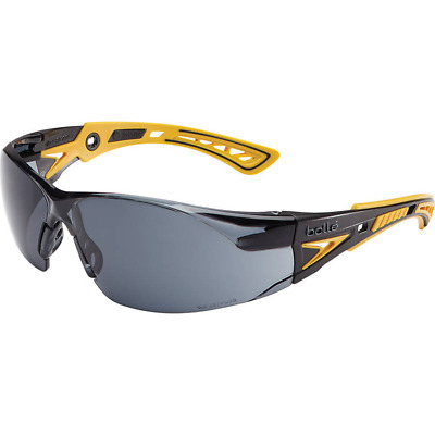 Bolle Rush Plus Small Safety Glasses | Black/Yellow Temples | Smoke AF Lens