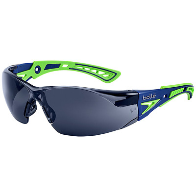 Bolle Rush Plus Safety Glasses | Blue/Green Temples | Smoke AF Lens