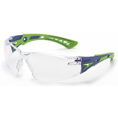 Bolle Rush Plus Safety Glasses | Blue/Green Temples | Clear AF Lens