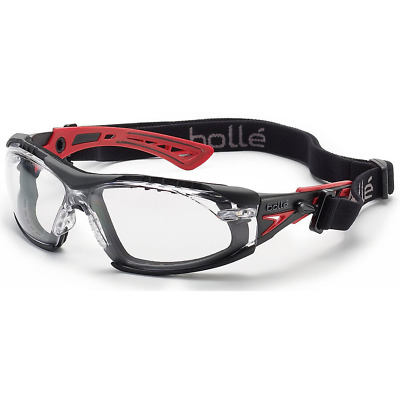 Bolle Rush Plus Safety Glasses Black/Red Temples With Foam Clear Anti-Fog Lens